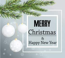 Merry Christmas card background Christmas balls and fir-tree vec