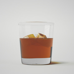 Glass of whiskey with ice. 3d rendering