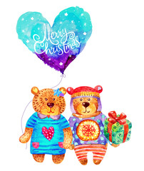 Merry Christmas watercolor Bears characters in love with a balloon illustrations isolated on white background. Perfect for Christmas greeting card