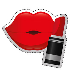 woman red lips and lipstick icon over white background. colorful design. vector illustration