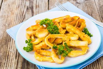 Fried squid rings in breadcrumbs