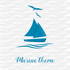 Marine theme. Sailing ship rocking on the waves. Two soaring seagulls.