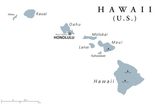 Hawaii political map with capital Honolulu. State of USA, located in Oceania, composed entirely of Islands, northernmost island group of Polynesia. Gray illustration with English labeling. Vector