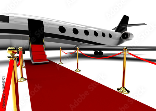 QuotRed Carpet Private Jet  3D Render Image Representing An