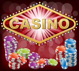 Casino with poker chips