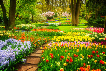 Photo sur Plexiglas Jardin Colourful Tulips Flowerbeds and Stone Path in an Spring Formal Garden, retro toned