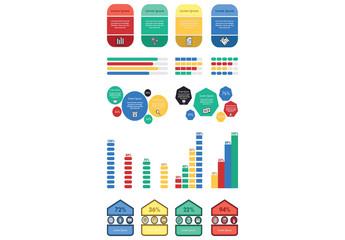 Four-Color Infographic Elements Set
