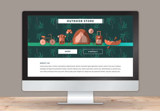 Illustrated Wilderness Shop Landing Page Layout