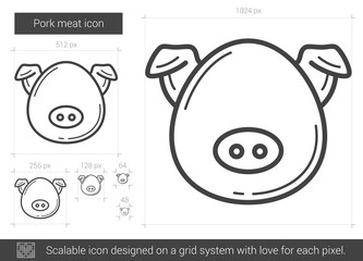 Pork meat line icon.