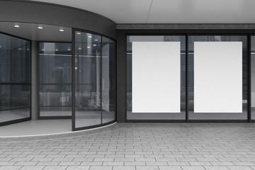 Glass doors of corporate building