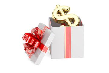 Gift box with dollar symbol, 3D rendering