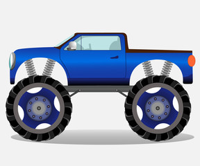 Monster truck with big wheels. Car vehicle in blue.
