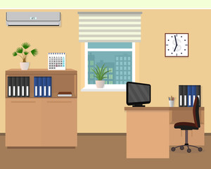 Office room interior. Workspace design with clock, air conditioning and cityscape outside window.