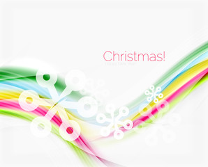 Color wave line with snowflakes, winter vector business template