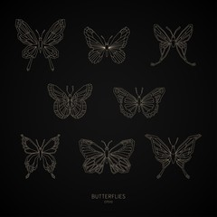Set gold butterflies geometric shapes. Vector illustration.
