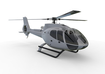 Helicopter / 3D render image representing a red helicopter on white background.