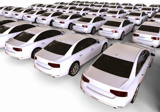 Unique car / 3D render image representing a fleet of cars with a red one in the middle