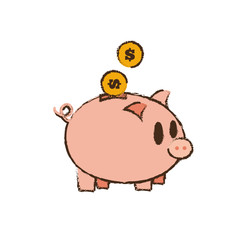 drawing save money piggy coins bank vector illustration eps 10