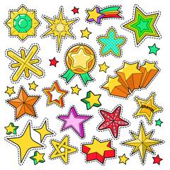 Stars Golden Decorative Elements for Scrapbook, Stickers, Patches, Badges. Vector Doodle