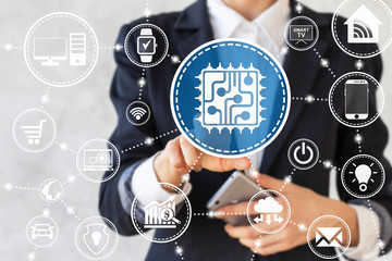 Businessman presses microchip sign. CPU icon. Chip button. Concept, technology, network, business, communication, smartphone. Microcircuit, devices, smart house, electronics, internet of things.