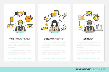 Business Team Work Brochure Template with Line Art Thin Vector Icons