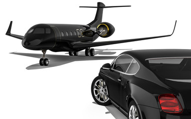 Luxury life / 3D render image representing a luxury car with an private jet