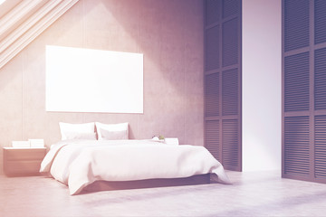 Side view of attic bedroom, toned