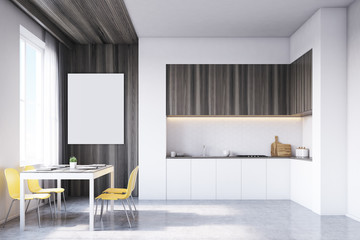 Kitchen with tabletop and table