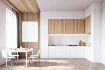 Kitchen with tabletop and table, wood
