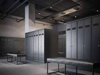 Modern locker room with black cabinets. 3d rendering