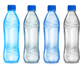 Set of plastic bottles with mineral water