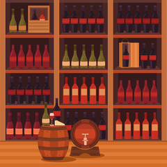 Illustration of a wine cellar.