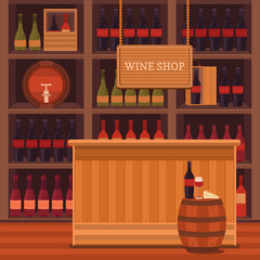 Illustration of a wine shop.