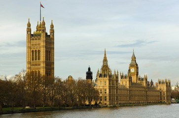 A view of Westminster and Big Ben taken from Lambeth Bridge London.