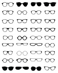Black silhouettes of different eyeglasses, vector