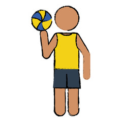drawing player volleyball yellow tshirt vector illustration eps 10