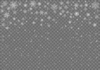 Snow on a transparent background