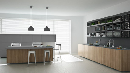 Scandinavian gray kitchen with wooden and gray details, minimali