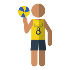 character player volleyball yellow tshirt vector illustration eps 10