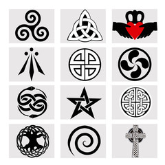 Set of 12 celtic Symbols