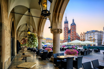 St Mary's Basilica and Main Market Square in Krakow, Poland, on sunrise Wall mural