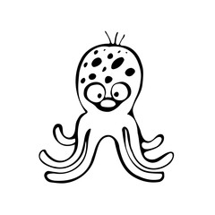 Funny character octopus