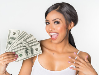 Woman holding cash money