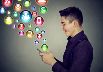 man using smartphone social media application icons coming out screen