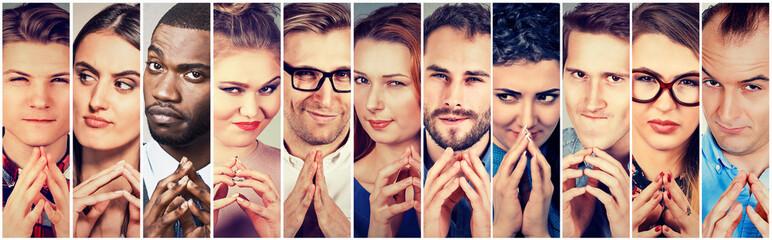 Multiethnic group sneaky sly liar people women men plotting something