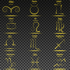 Set of simple stroke zodiac signs with names and dates on round watercolor Colorful