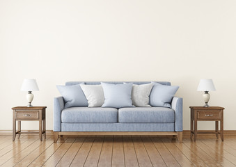 Livingroom with fabric sofa, pillows and lamps on empty wall background. 3D rendering.
