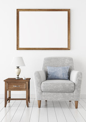 Horizontal interior poster mock-up with empty wooden frame, armchair and lamp on white wall background. 3D rendering.