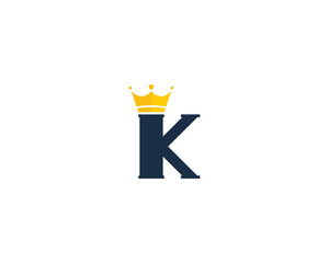 Letter K King Crown Logo Design Element