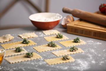 Uncooked ravioli, close up